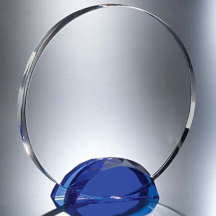 Faceted Blue Base Circle Crystal Awards