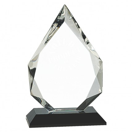 Black Base Clear Crystal Flame Trophy