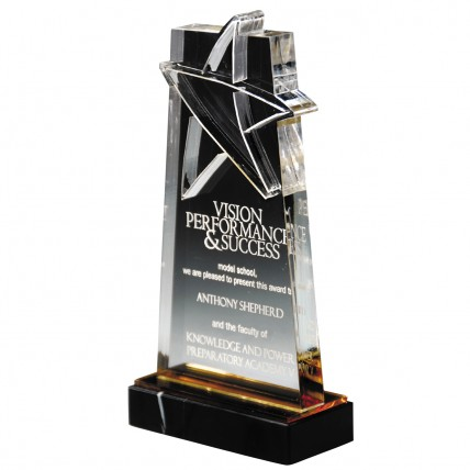 Upright Etched Star Gold Acrylic Trophy