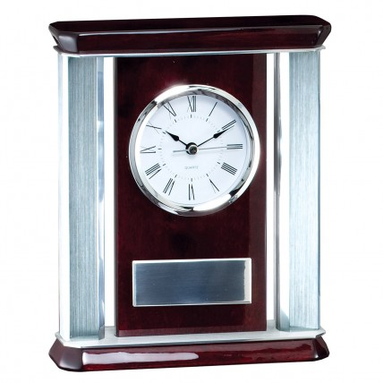 Silver Accented Rosewood Desk Clock