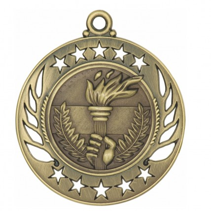 Stencil Flaming Torch Medals