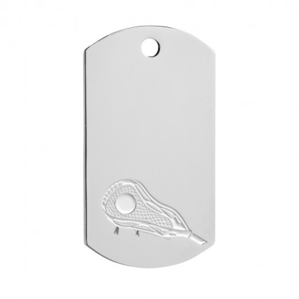 Silver Lacrosse Dog Tag