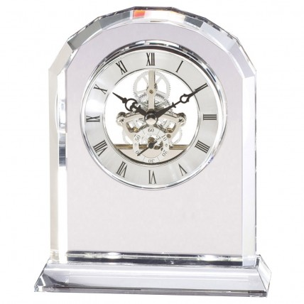 Transparent Crystal Desk Clock with Gears