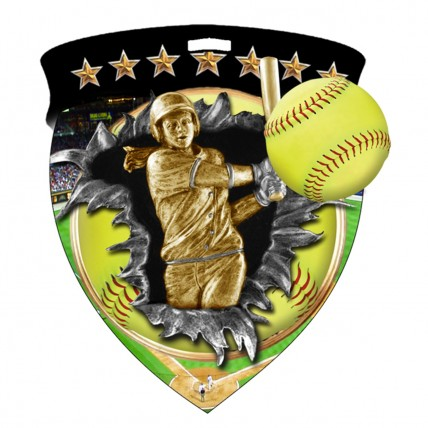 Explosive Softball Medal in Full Color