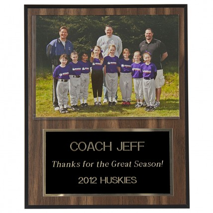 Coaches Plaque with Team Picture - Walnut