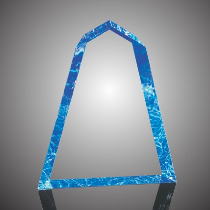 Color Peaked Acrylic Wedge Award - Blue