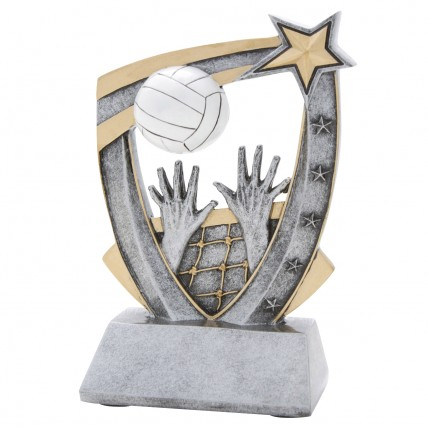 3-D Action Star Resin Volleyball Trophy