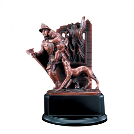 Bronze-Colored Resin Firefighter Award