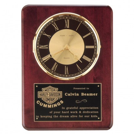 Mahogany Plaque with Golden Analog Clock