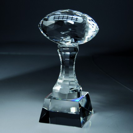 Crystal Football and Pedestal Fantasy Sports Trophy