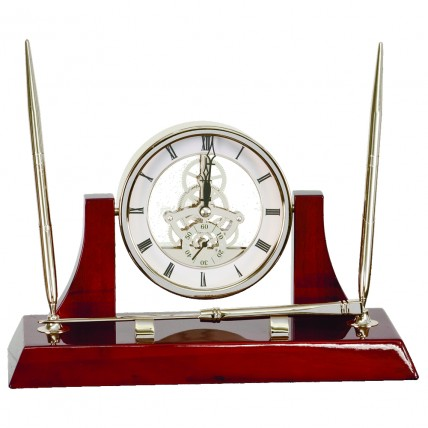 Silver & Rosewood Executive Desk clock with pen set and letter opener