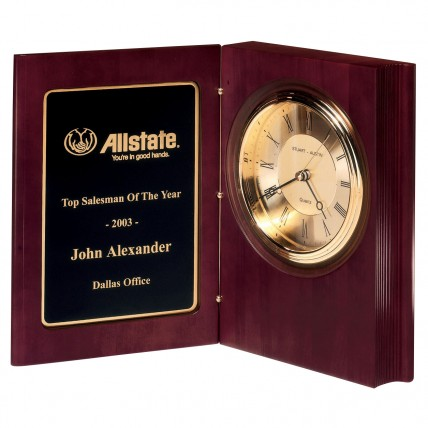 Personalized Rosewood Book Clock