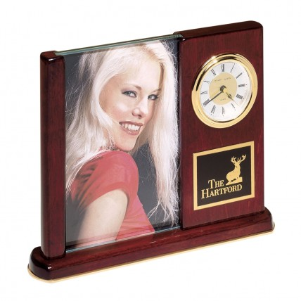 Engraved Desk Clock with Photo Frame