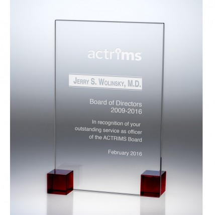 Cubic Glass Plaque Award - Red