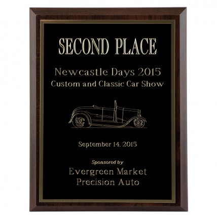 Value Cove Walnut Engraved Plaque with FREE gold engraving