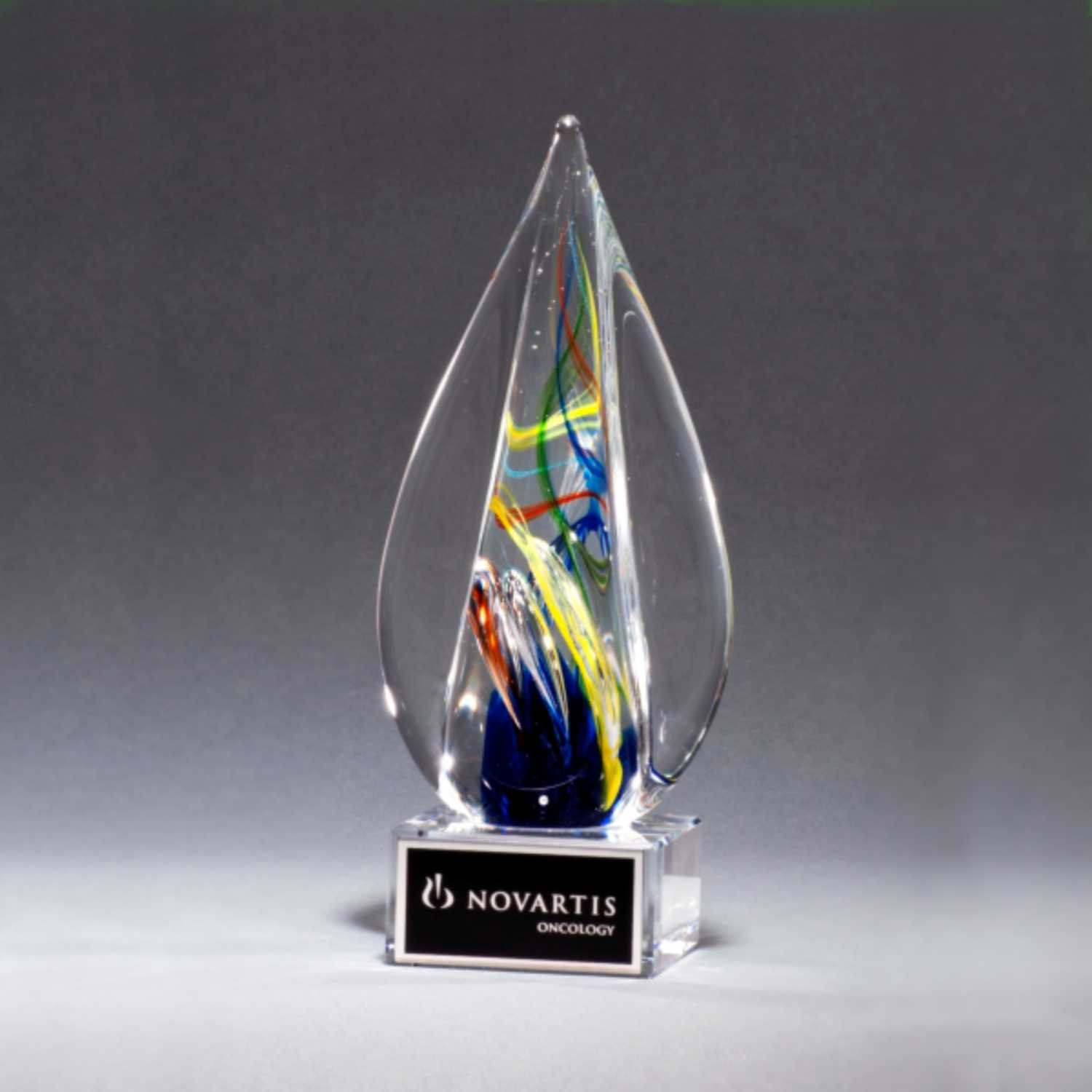 Multi Color Flame Art Glass Trophy