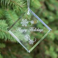 Engraved Crystal Diamond Ornament